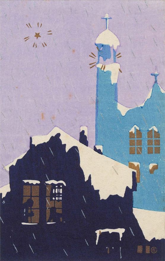"4/4 - By Kobayashi Kaichi, early Showa era, ""Townscape in Winter"" from the series ""Blue Birds"", color woodblock."