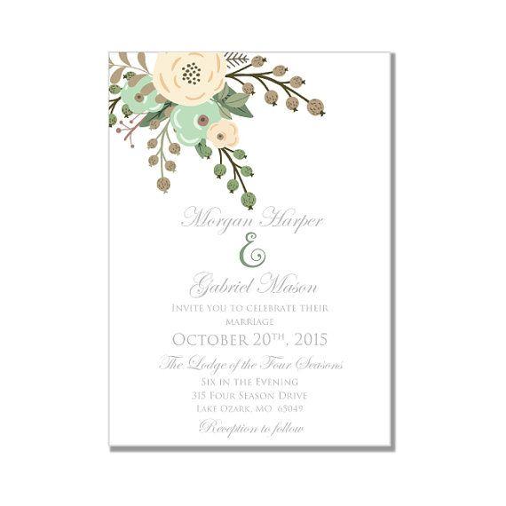 Printable Wedding Invitation - Romantic Floral Wedding Invitation - Rustic Wedding - Vintage Flowers- INSTANT DOWNLOAD - Microsoft Word