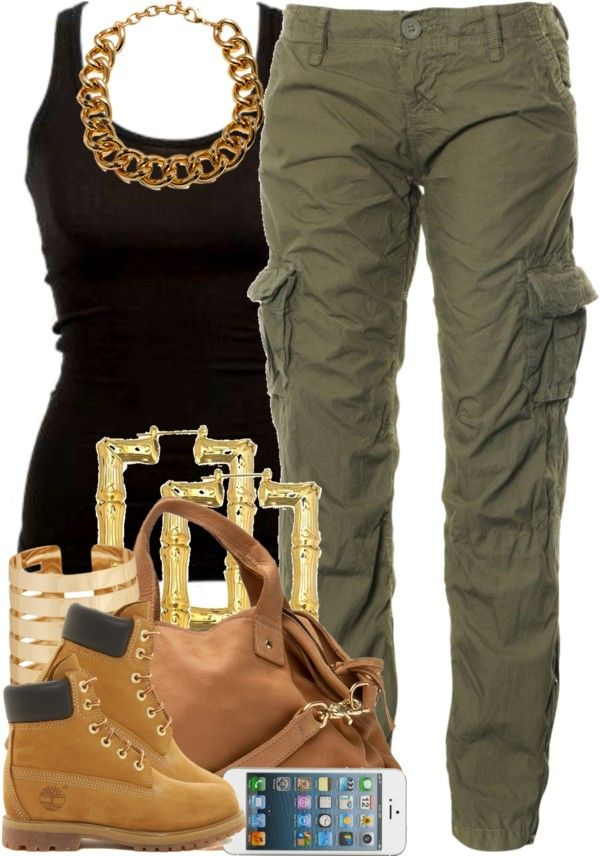Black Tee, Army Pants, Timbs, Gold Bamboo Earrings, & Gold Chain Link Necklace.