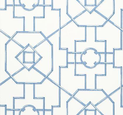Thibaut Bamboo Lattice Blue Wallpaper main image