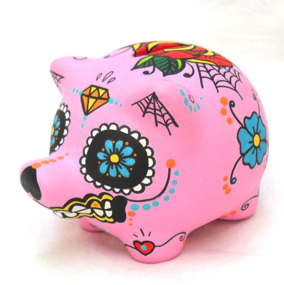 Sugar Skull Piggy Bank Day Of The Dead Mexican By