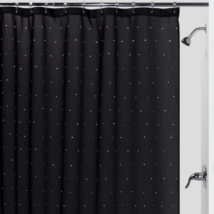 Diy bling shower curtain diy room decor inspiration for Black bling bathroom accessories