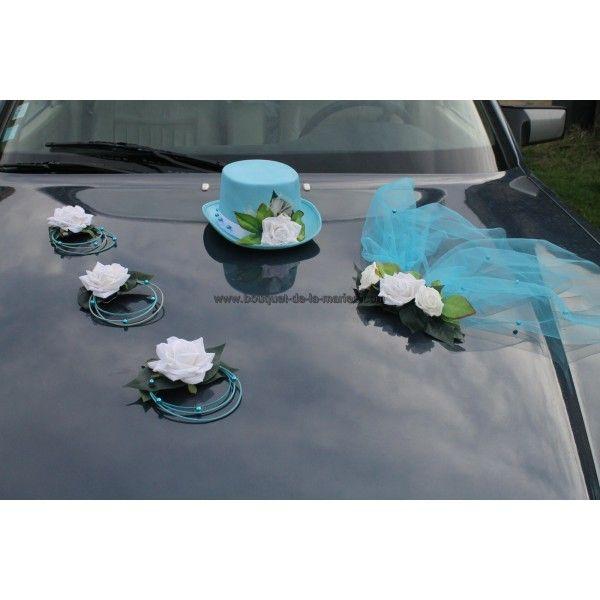 pour votre mariage voici une dcoration de voiture compose dun chapeau avec voile - Fleurs Capot De Voiture Mariage