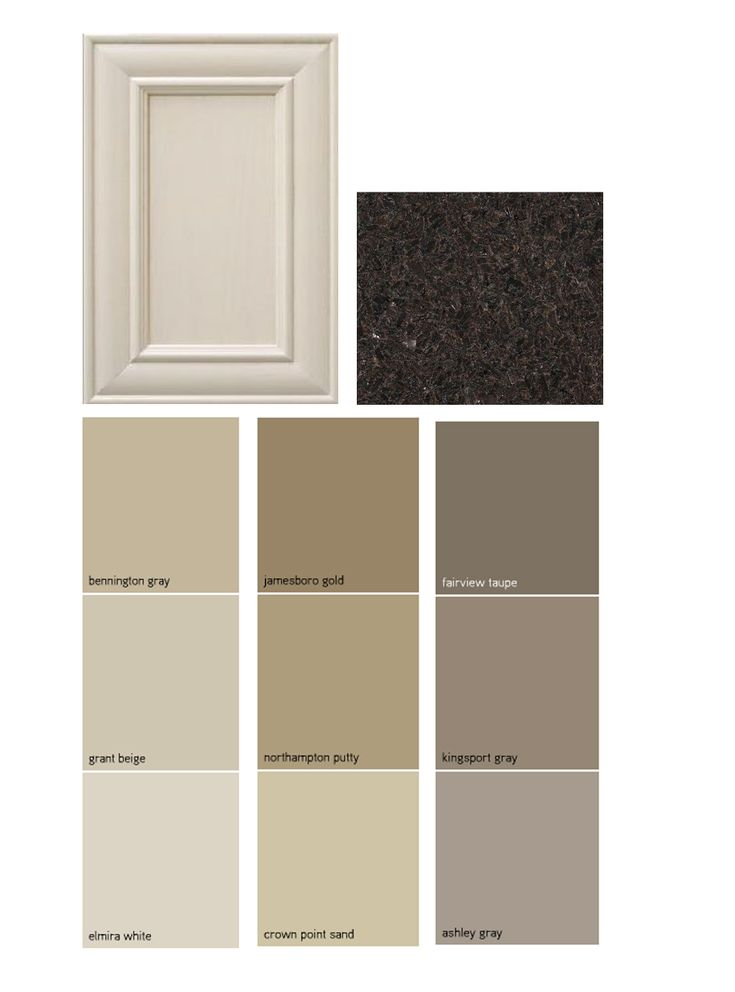 Paint palate - dark granite, off white cabinets