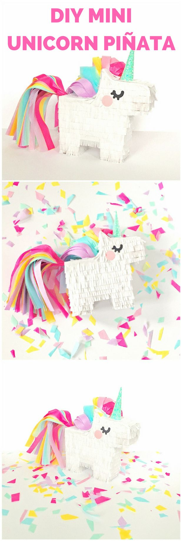 DIY Mini Unicorn Pinata with Free Printable Template.