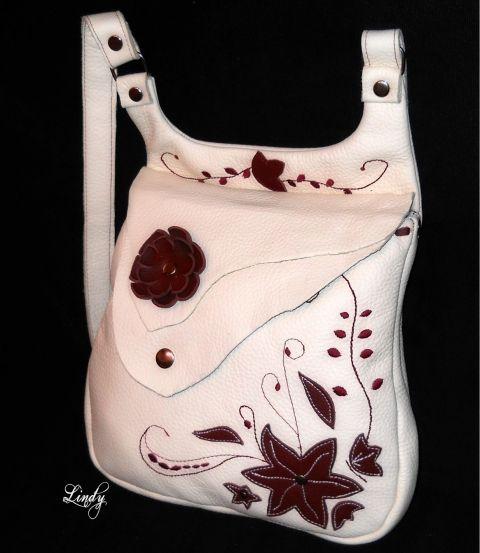 RedworkLindy - Vajszínű és bordó marhabőr válltáska #bag #leather