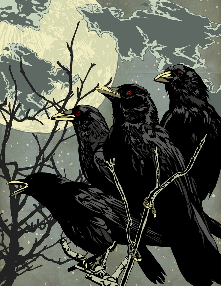 "Matt Peppler. Crows At Night. Graphic Print  ""the Crows are coming for us""!!!!!"