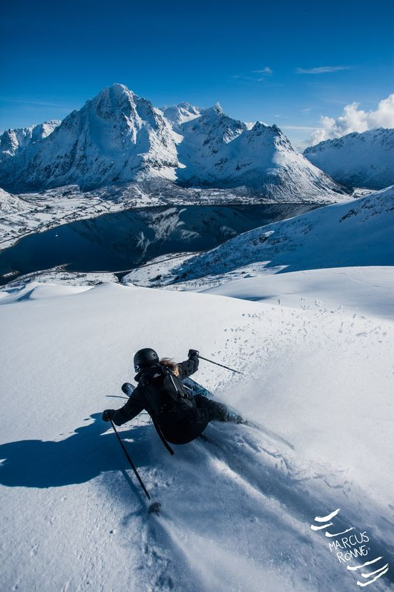 Skiing in Lofoten, Norway.
