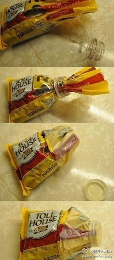 this is a cool idea; it works on a lot of things! you can make diy space bags with garbage bags, the top part of a plastic bottle and the lid! (using the lid as used in this example).
