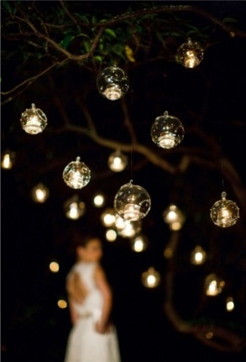 Hanging bubble candle holders to hang on trees outside!