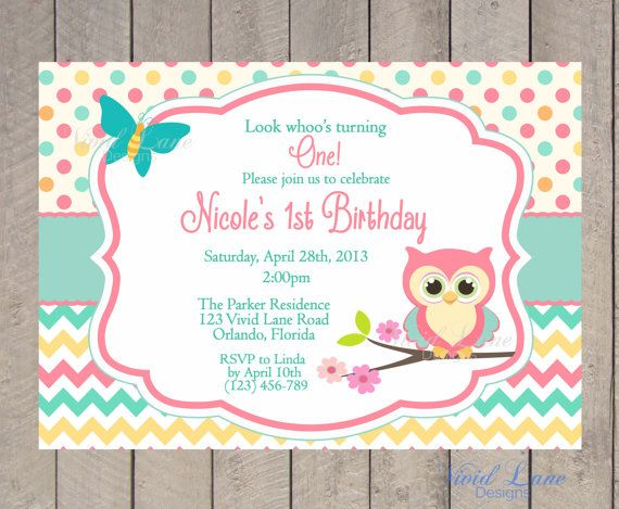 Owl Birthday Invitation  First Birthday Girl by VividLaneDesigns, $14.00