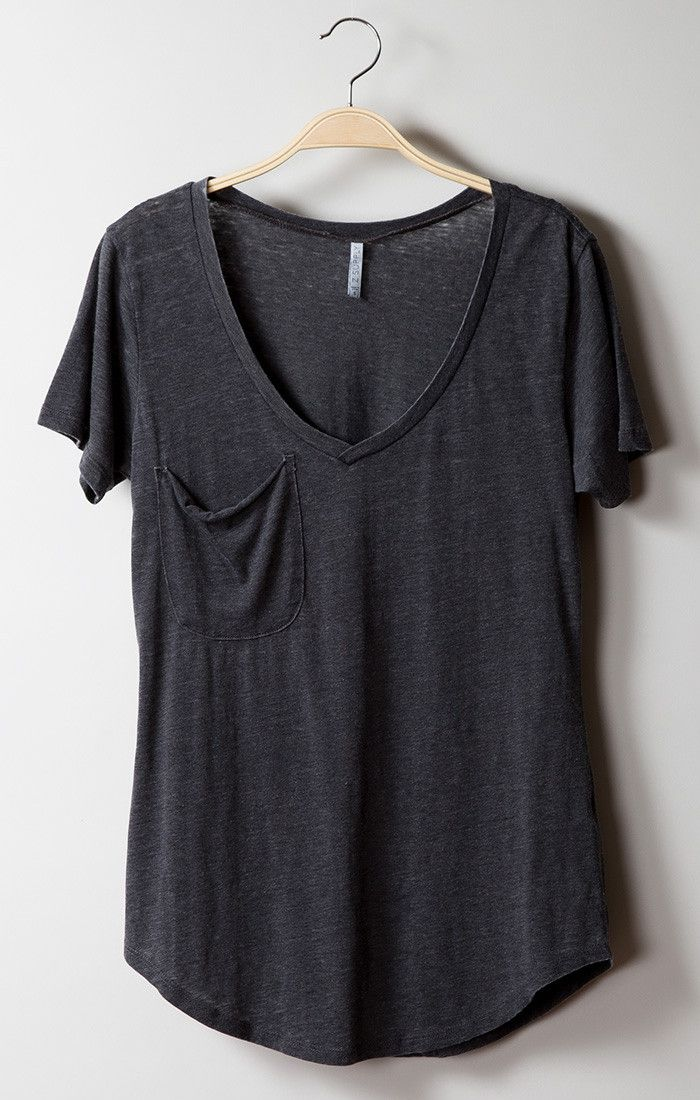 This versatile tee features a low V-neckline, a slouchy pocket and a rounded…