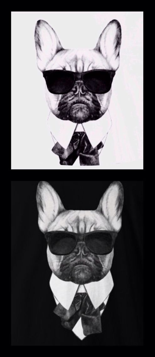 French Bulldog as Karl Lagerfeld, t shirt available at Etsy.