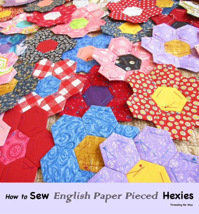 Sewing English Paper Pieced Hexagons   Learn how to make and sew together hexagons using English paper piecing!