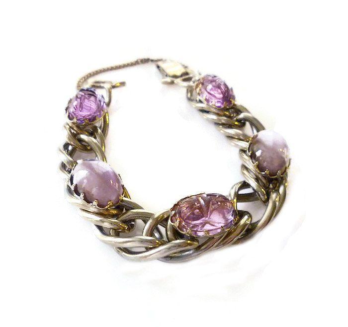 Kafin Scarab Bracelet, Amethyst Glass, Scarab Beetle, Silver Chains, Vintage Bracelet, Designer Jewelry, Statement Bracelet by zephyrvintage on Etsy
