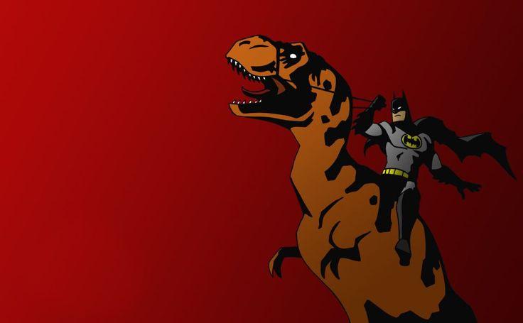 Batman riding T-Rex HD Wallpaper