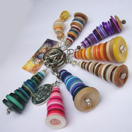 Handmade Button tower keychains by phyllis