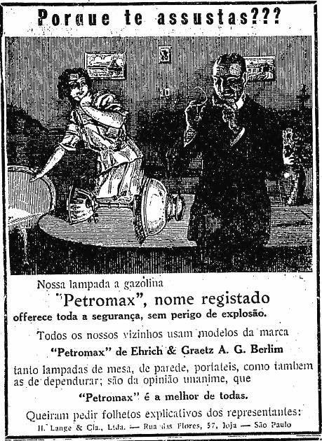 Propaganda das Lâmpadas que usavam gasolina como combustível: Petromax…