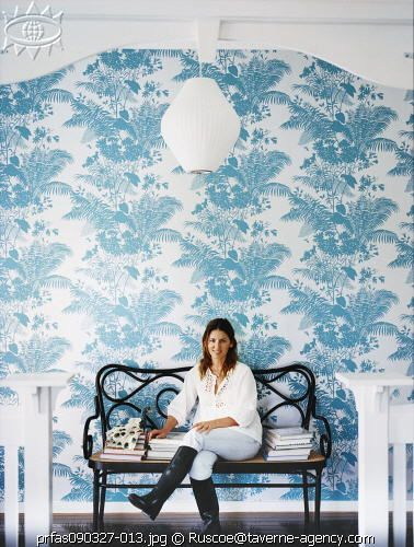 the lovely shannon fricke's home, complete with Florence Broadhurst wallpaper and bentwood bench