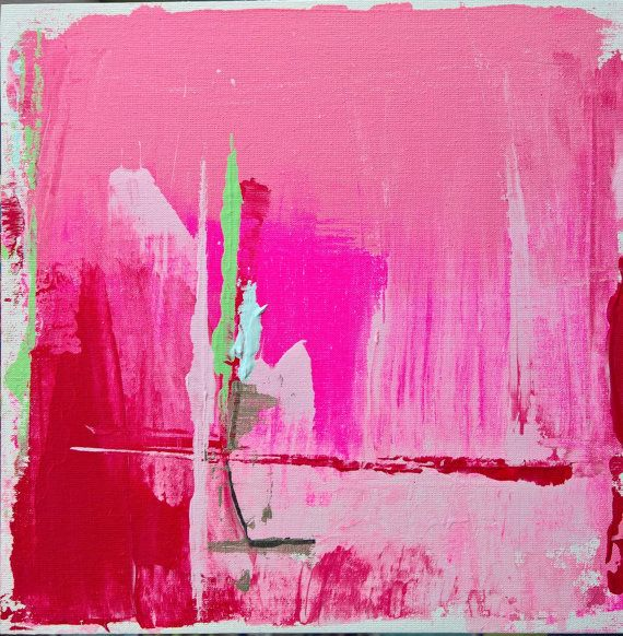 ABSTRACT original  painting fine art white pink red by FELICISSIMO