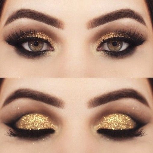 60+ Most Beautiful Gold Glitter Eye Makeup 💕 Inspirational Design for Prom …