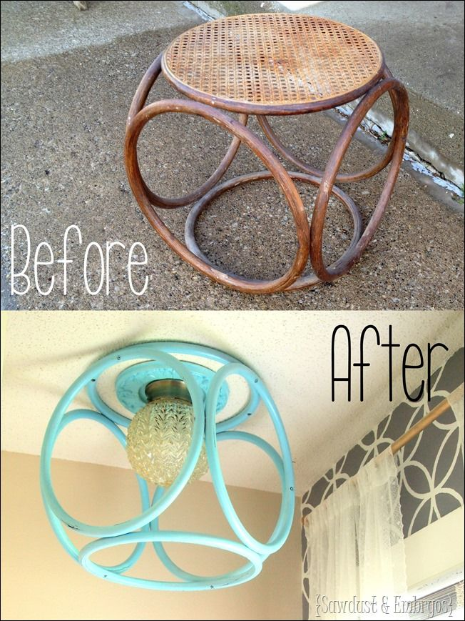 Turn and old end table into a fabulous modern light fixture! Click through for the tutorial! {Sawdust and Embryos}
