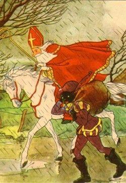 Sinterklaas en zwarte Piet in de regen (K70-35) ansichtkaart