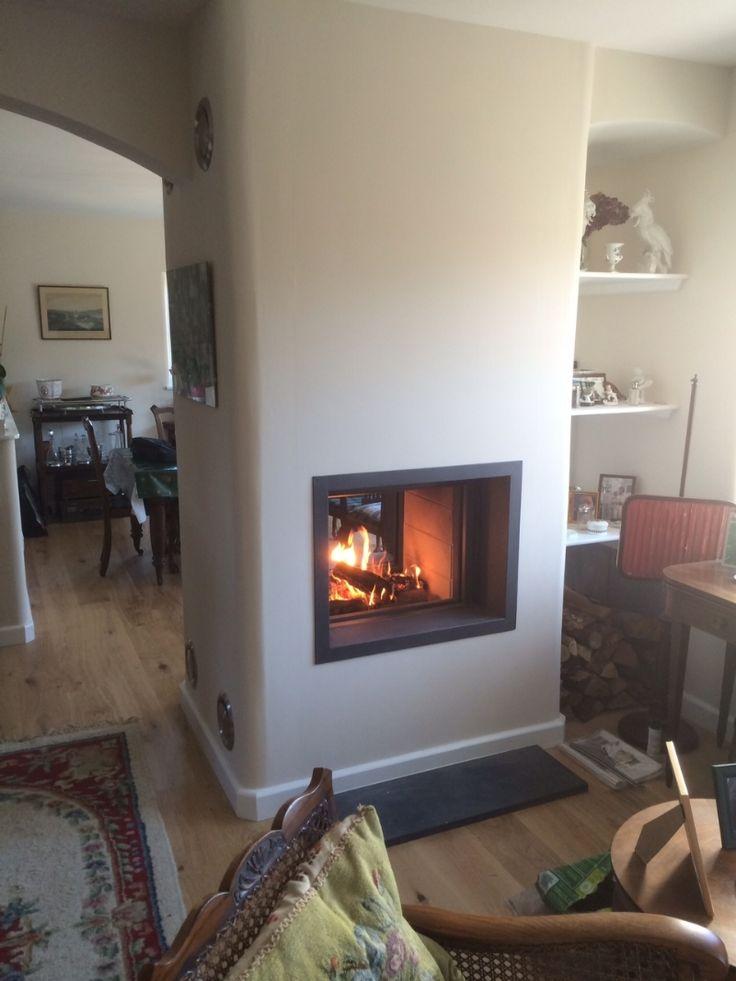Kernow Fires Stuv 21/75 doublesided woodburner installation wood burning stove installation in Cornwall.