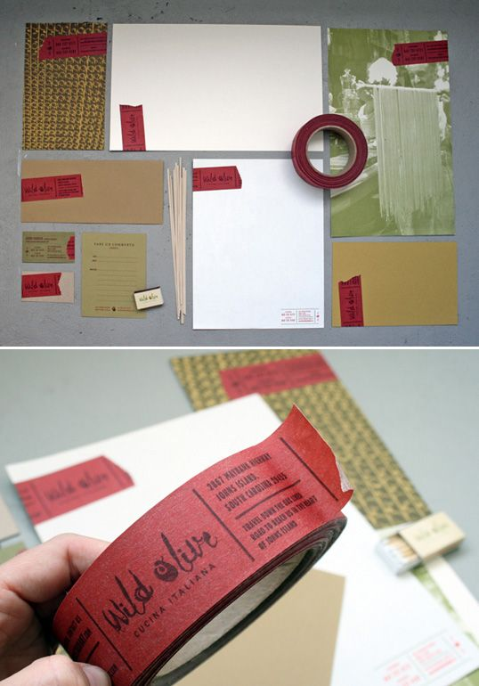 Wild Olive : Stationery: A budget friendly identity system was developed for this Cucina Italiana using printed tape that can be applied to almost anything