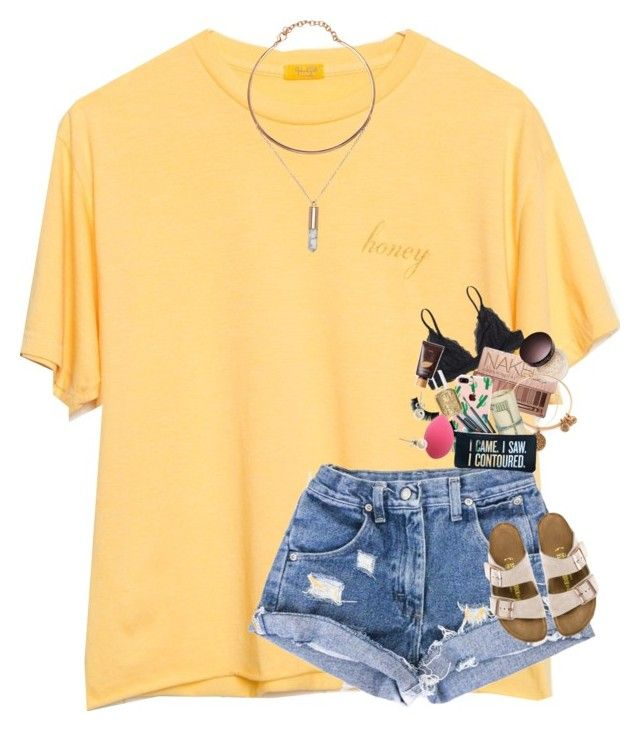 """"""""""" by supremegrier ❤ liked on Polyvore featuring Monki, Urban Decay, Laura Mercier, Alex and Ani, The Casery, Estella Bartlett, Essie, SugarLuxeShop, Birkenstock and J.Crew"""