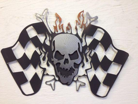 "Metal Skull Checkered Flag Wall Hanging, WInners Circle, Grim 15.5"" x 10.5"""