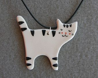 Incredibly Ceramic Cat Necklace,White,Black,Striped Cat,With Black Necklace,Ceramic,Cat Pen…
