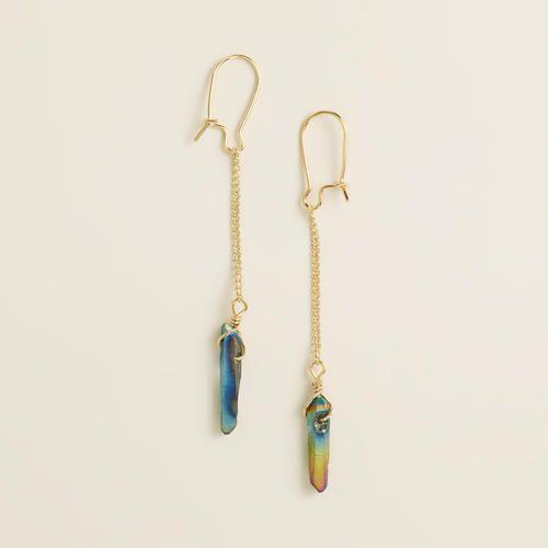 Genuine Quartz Long Drop Earrings | World Market