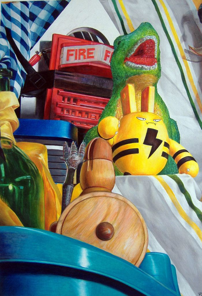 Color Pencil Toy Still Life // Illustrated by Brandon Nagy
