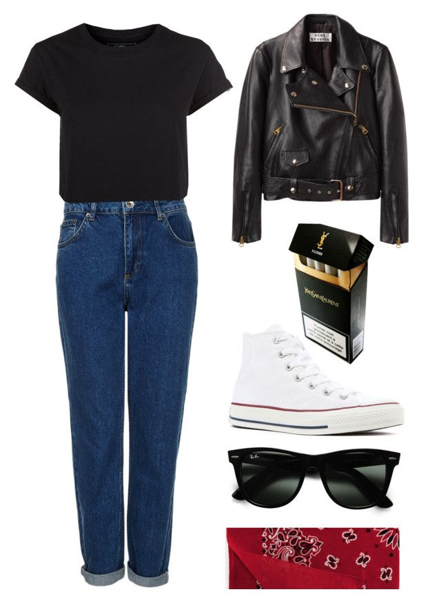 """34 The outsiders/greasers #2 ♥"" by hala-aljarah ❤ liked on Polyvore featuring Topshop, Acne Studios, Ray-Ban, Converse and Yves Saint Laurent"