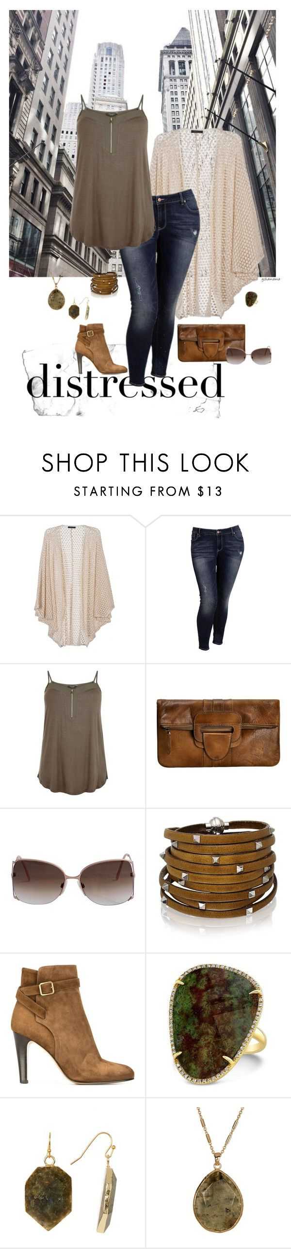 """Roughed up- plus size"" by gchamama ❤ liked on Polyvore featuring Old Navy, Sif Jakobs Jewellery, Michel Vivien, Anne Sisteron, Panacea, 14th & Union and distressed"