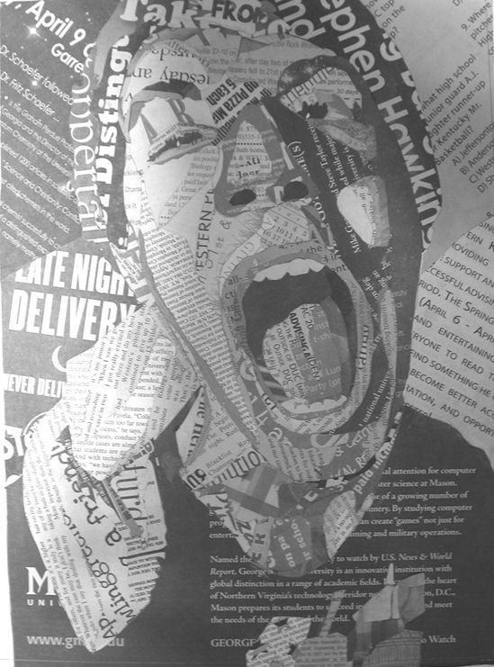 Newspaper collage - The Orange Lamp | Design Studio of Leslie Hill