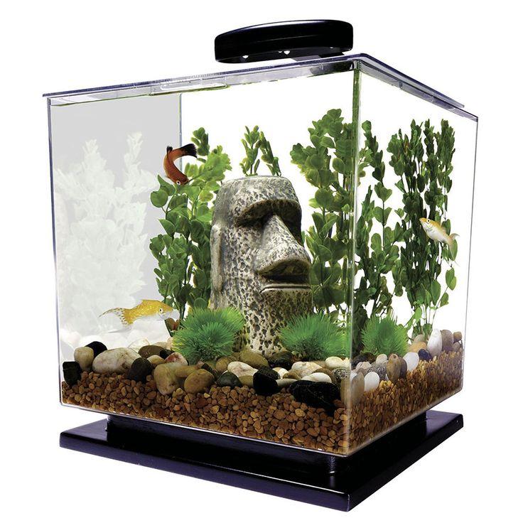 New Cube Tropical Fish Aquarium Kit 3-Gallon Aquatic Pets Supplies Goldfish Beta #Tetra