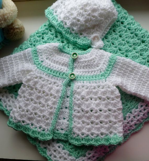 1723 best crochet baby sweater sets images on pinterest crochet crochet baby sweater bonnet large blanket in by brijohcrafts dt1010fo