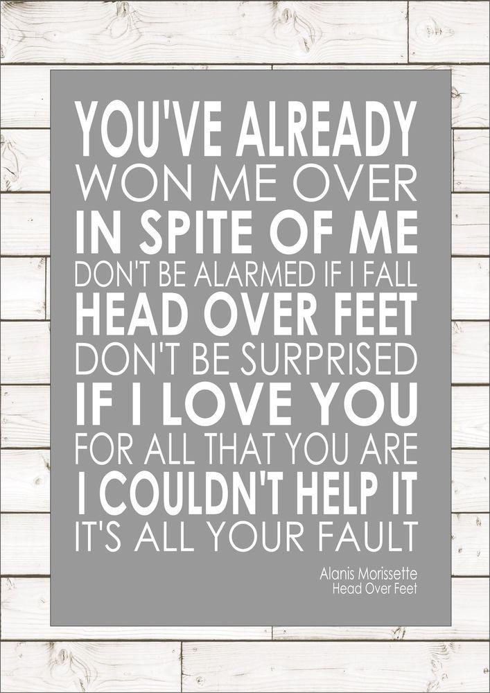 Alanis Morissette Head Over Feet Word Words Song Lyric Lyrics