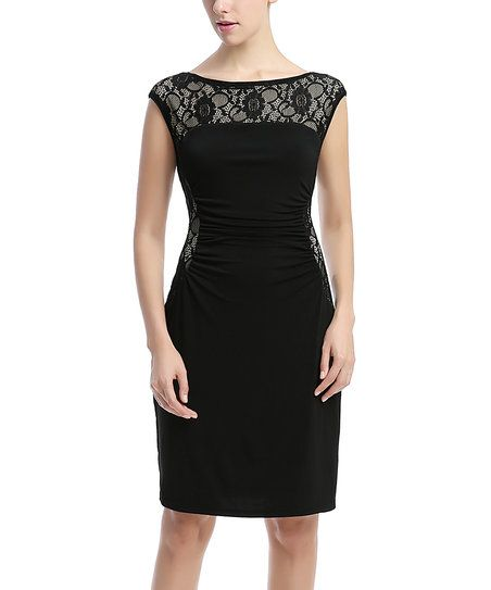 Shirred lace dress black