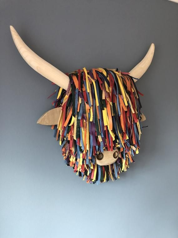 Quality Handmade Unique Special Edition Wall Mounted Highland Etsy Steven Brown Art Faux Animal Head Cow