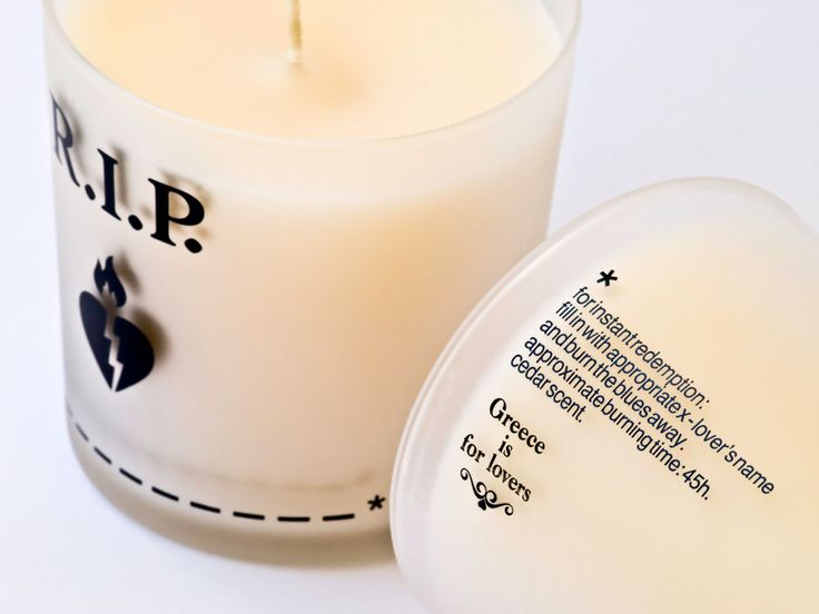 Fill in the gap with an appropriate x-lover's name and burn the blues away with this cedar-scented candle R.I.P. candle | Greece is For Lovers