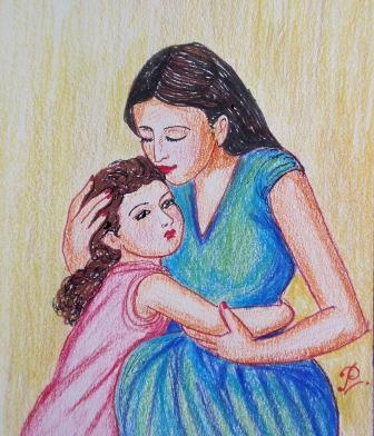 Mother and daughter-2: color sketch by me   Art ...