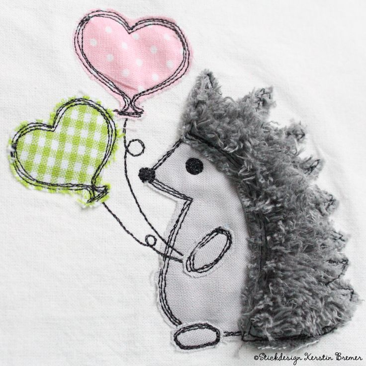 Igel mit Luftballons doodle Stickdatei von KerstinBremer.de ♥ Hedgehog appliqué embroidery for embroidery machines.  #sticken #nähmalen #igelliebe