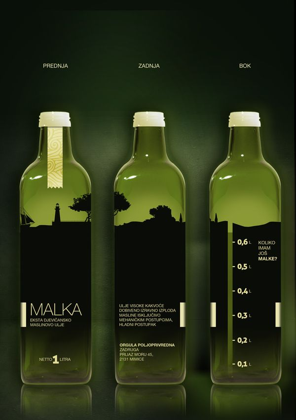 Malka package for Olive oil by Jurica Vukovich, via Behance. Love this olive oil #packaging PD