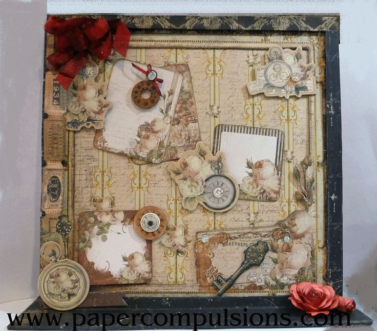 Paper Compulsions By Jani Magnetic memo board with a dry erase calendar on the other side. So useful. Made with Prima Time Traveler's Memories collection.