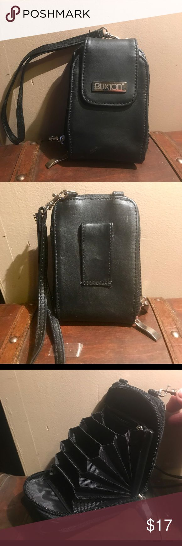 Buxton Leather Wallet/Wristlet Brand New Buxton Black Leather accordion style wallet to hold many cards, Zipper compartment and pouch on front side for larger items. Back has a belt loop if you want to wear on your waist or a looped strap to use as a Wristlet. Buxton Bags Wallets