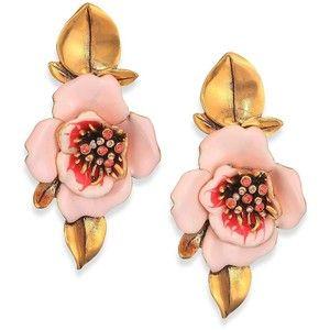 Oscar de la Renta Painted Flower Clip-On Drop Earrings