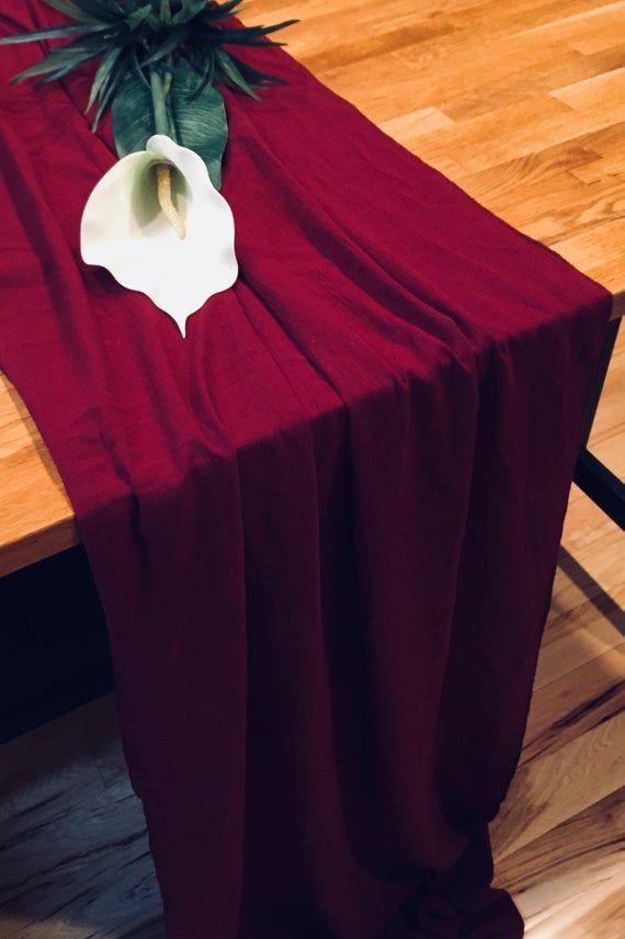 Gauze Table Runner Burgundy Table Runner Rustic Table Runner No Raw Edges All Sides Are Finishe In 2020 Burgundy Table Runner Wedding Table Linens Wedding Table